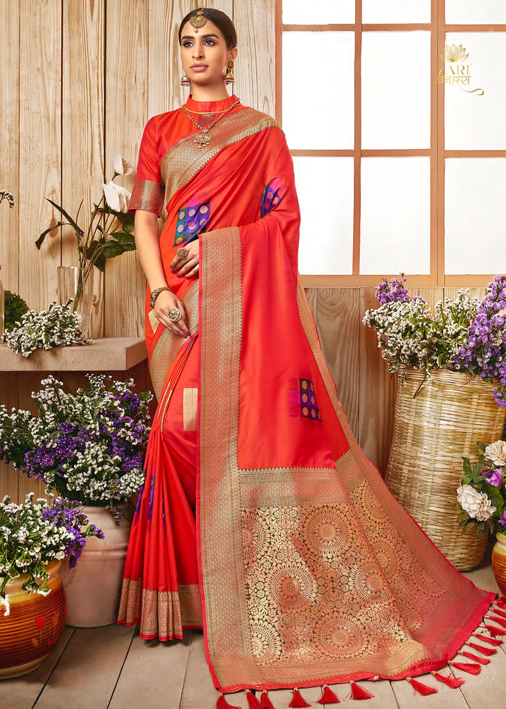 RED ORANGE WOVEN BANARSI SILK SAREE