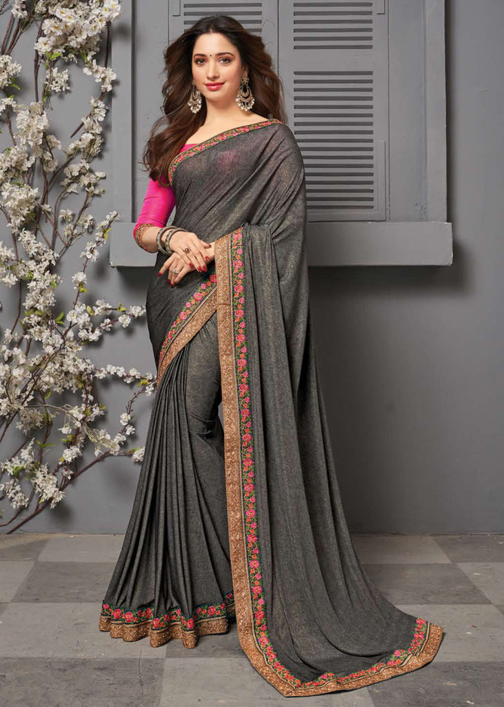 GRACEFULL GREY WOVEN SILK SAREE WITH DESIGNER SAREE
