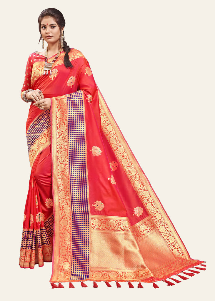 GORGEOUS RED WOVEN BANARASI SAREE WITH HEAVY EMBROIDARY