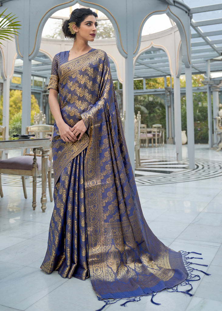 SHEER BLUE WOVEN KANJIVARAM SAREE