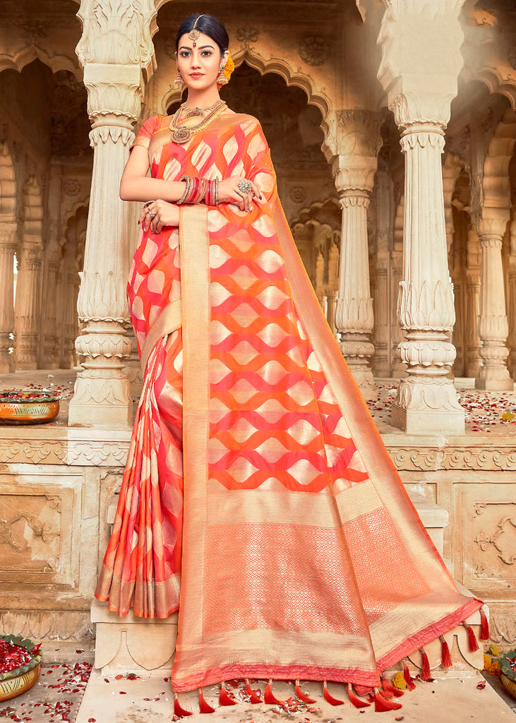 PARADISE ORANGE WOVEN BANARASI SILK SAREE