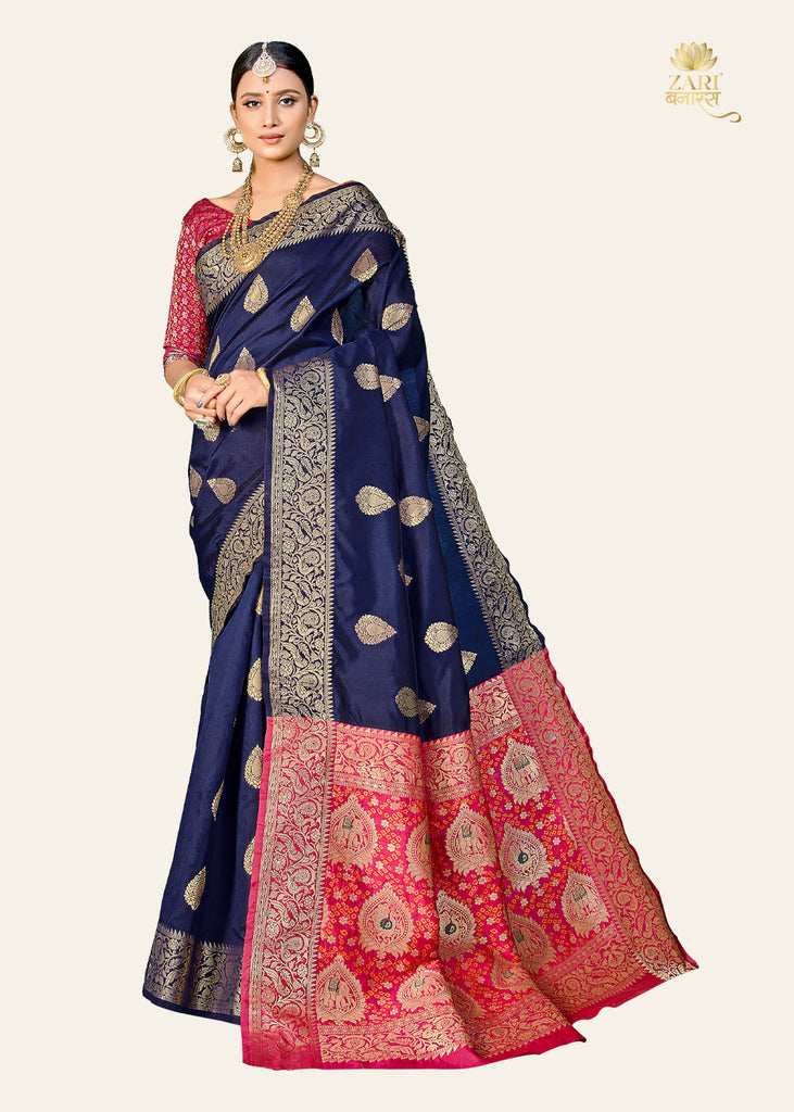 NEVY BLUE WOVEN BANARASI SILK SAREE WITH BROCADE BLOUSE