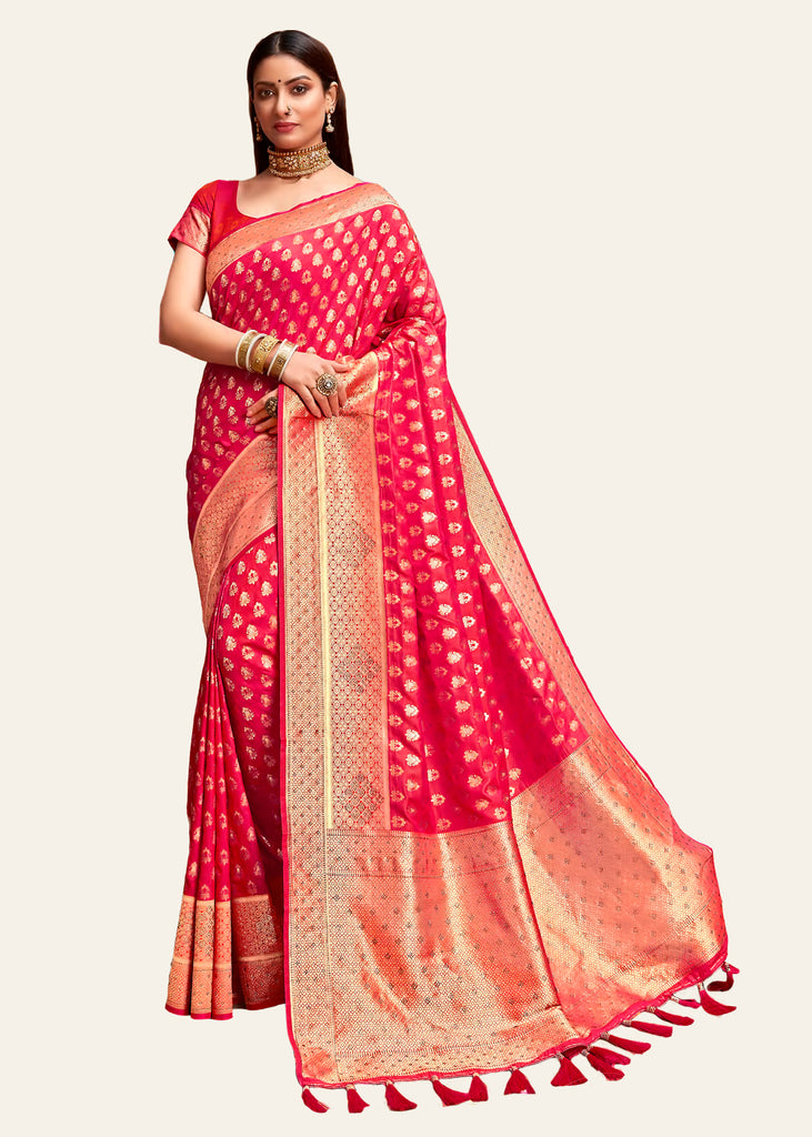 PARADISE RED WOVEN BANARASI SILK SAREE WITH HEAVY EMBROIDARY