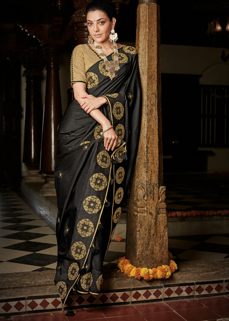 STUNNING BLACK WOVEN SILK SAREE WITH DESIGNER BLOUSE