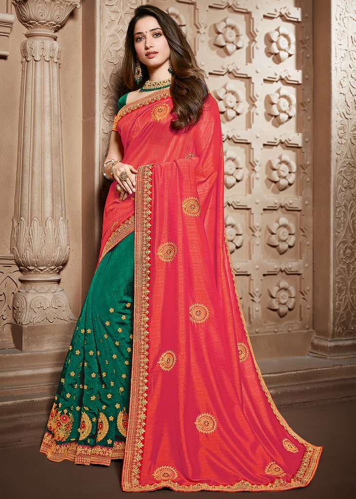 VIVID GREEN AND RED EMBROIDERED DESIGNER SAREE WITH HEAVY BLOUSE