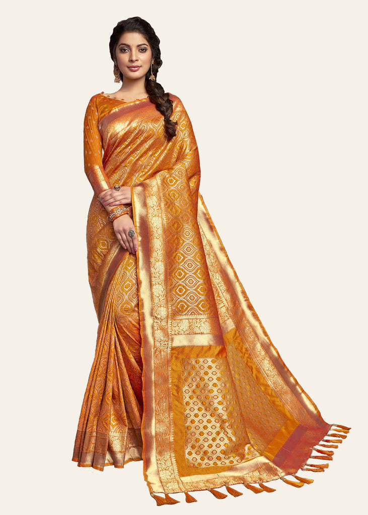 GOLDEN ORANGE WOVEN BANARASI SILK SAREE