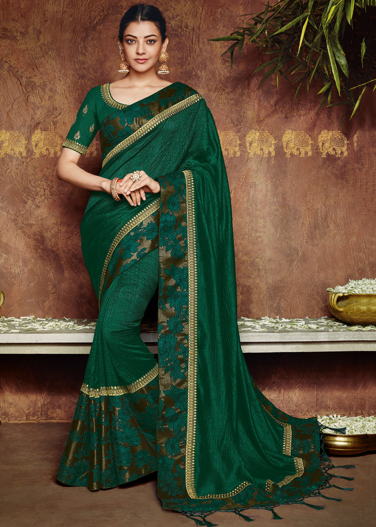 EMERALD GREEN DESIGNER SAREE WITH EMBROIDARY