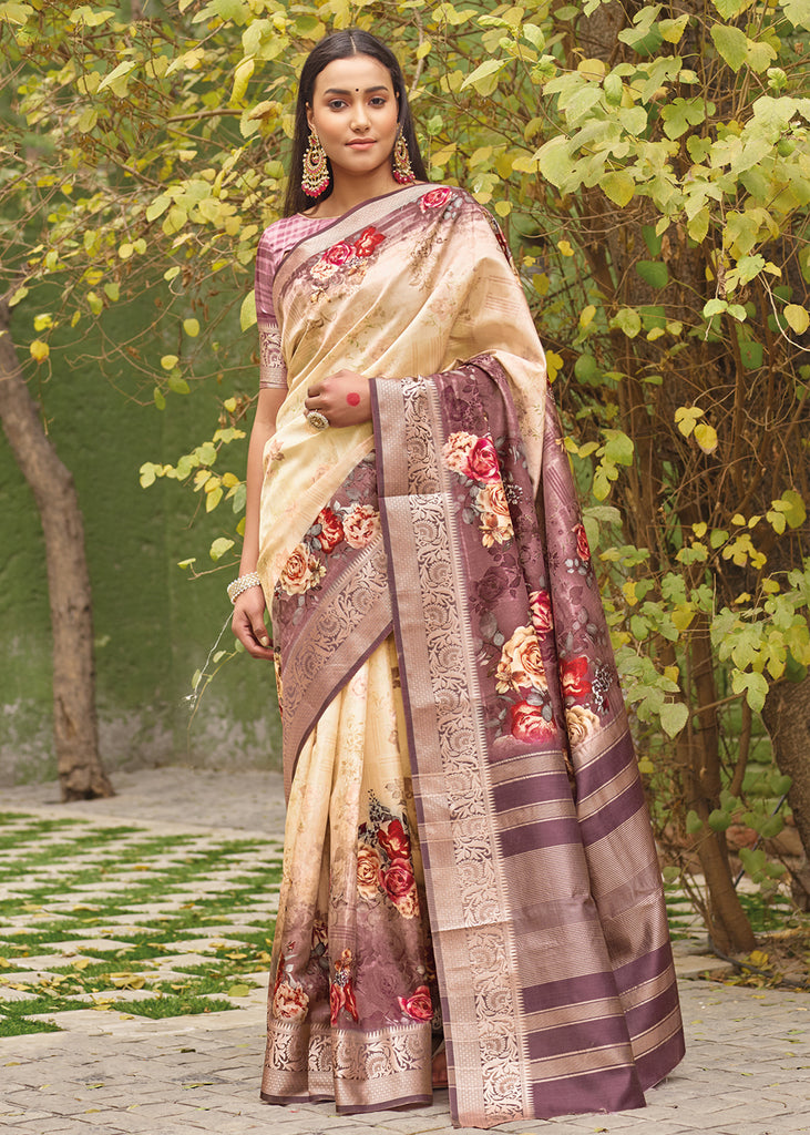 DUAL TONE IVORY AND BROWN JACQUARD PRINT SAGA  SAREE