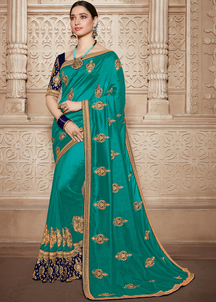 COLUMBIA GREEN EMBROIDERED DESIGNER SAREE WITH HEAVY BLOUSE