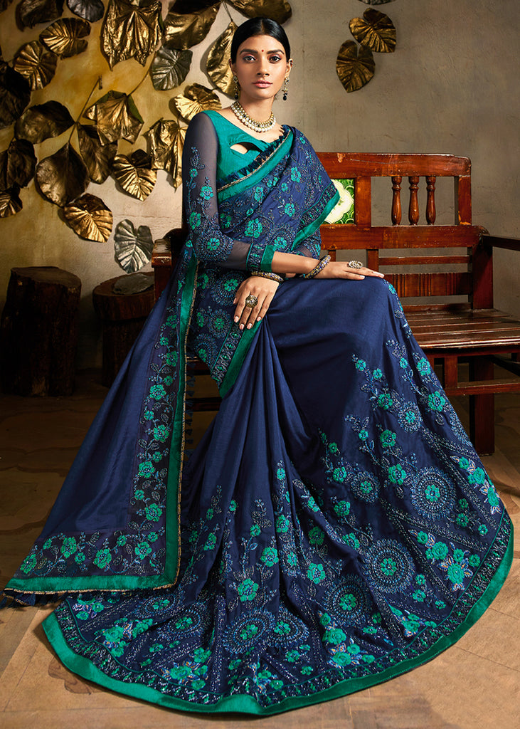 ROYAL QUEENS BLUE WOVEN DESIGNER SAREE