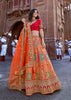 Beautiful saffron orange lehenga with heavy hand embroidery from Banaras