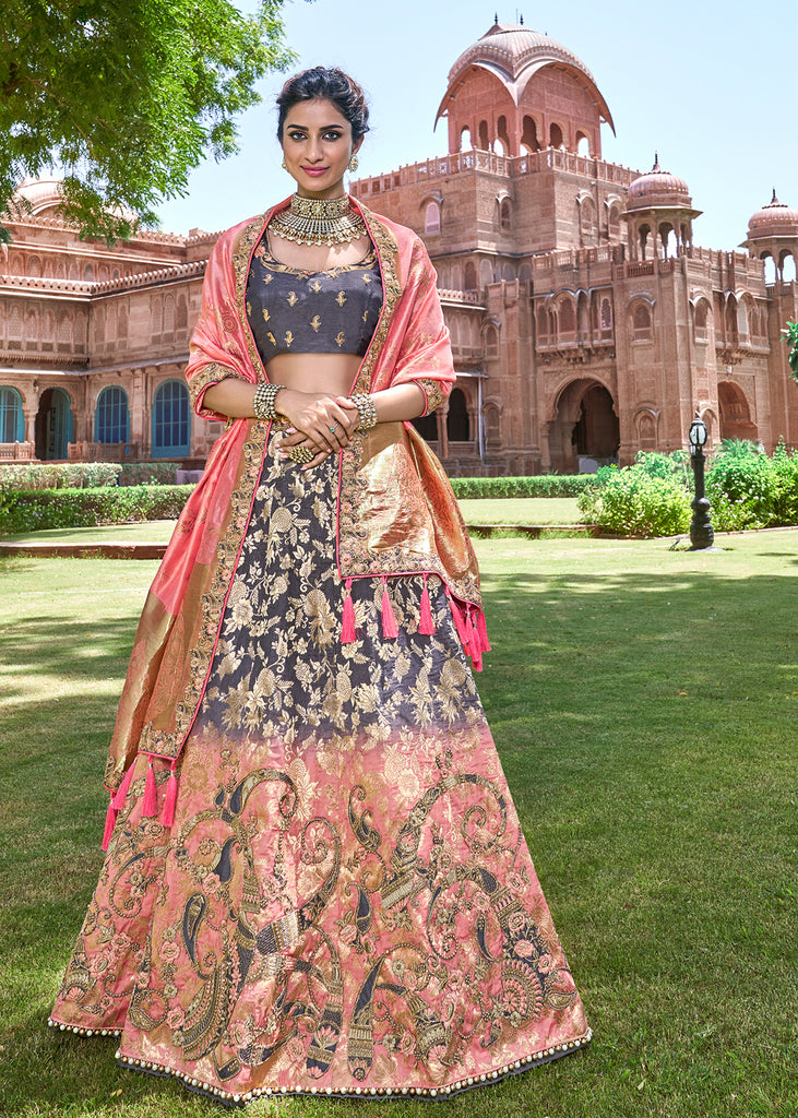 GREY AND PINK LEHENGA WITH HEAVY HAND EMBROIDERED BLOUSE AND BANARASI DUPATTA