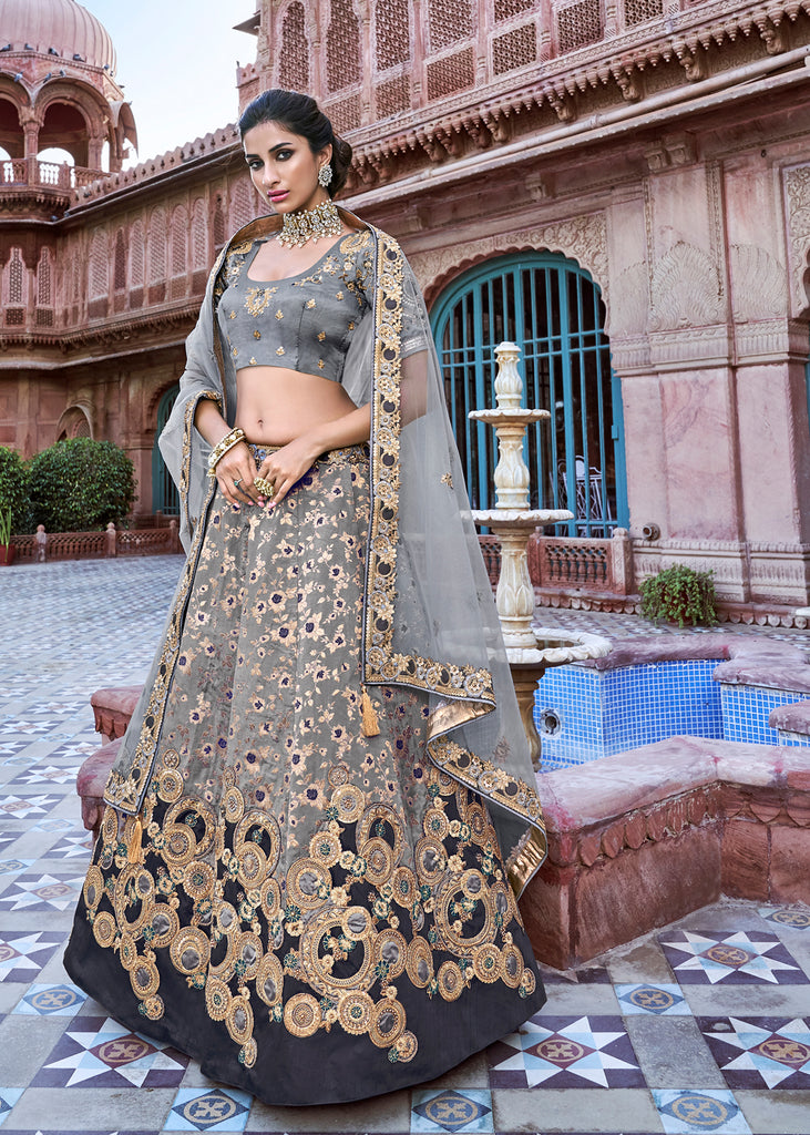 GREY EMBROIDERED LEHENGA WITH EMBROIDERED BLOUSE AND DUPATTA