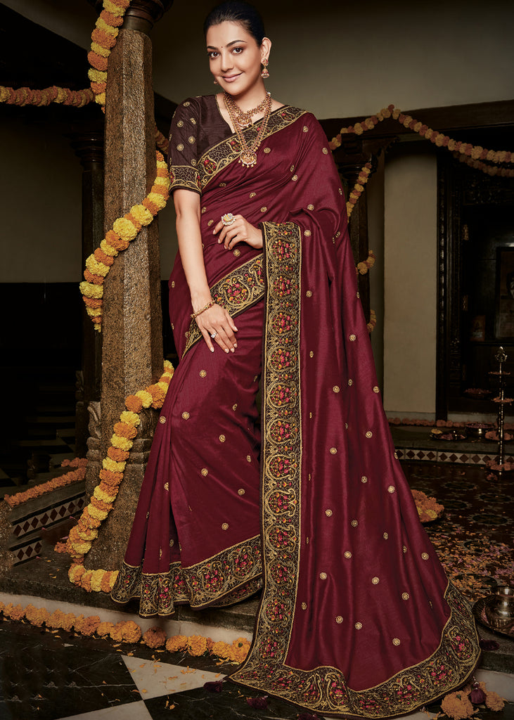 ROYAL MAROON WOVEN SILK SAREE WITH DESIGNER BLOUSE
