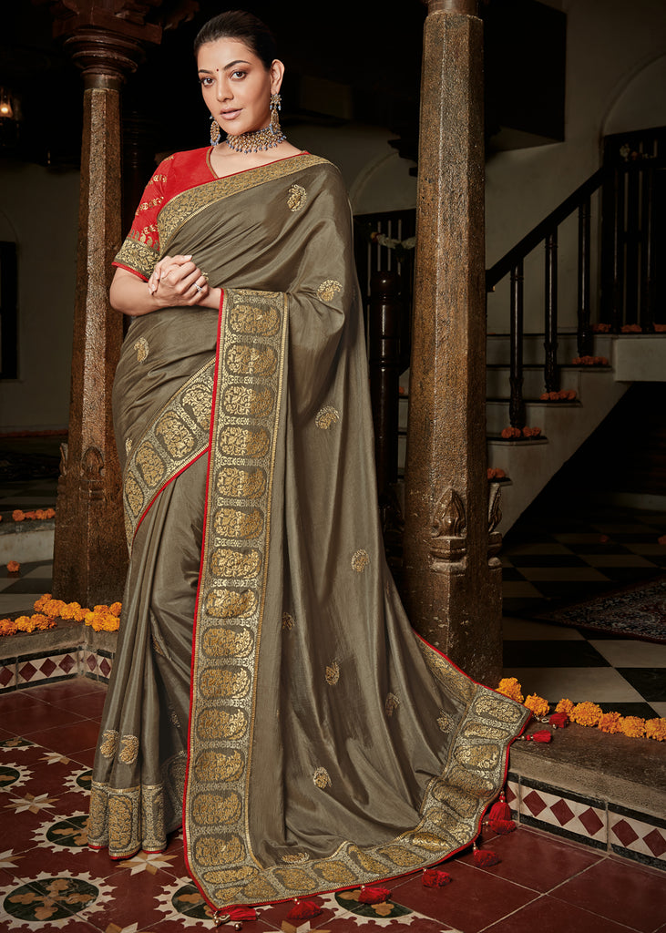 CHAMPANGE BROWN WOVEN SILK SAREE WITH DESIGNER BLOUSE