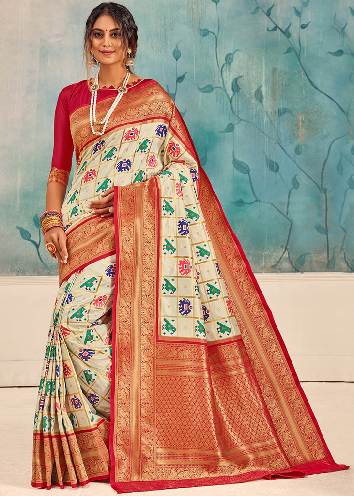 ROYAL IVORY WHITE HANDLOOM WOVEN PATOLA SAREE WITH BANARASI ZARI BORDER AND PALLU