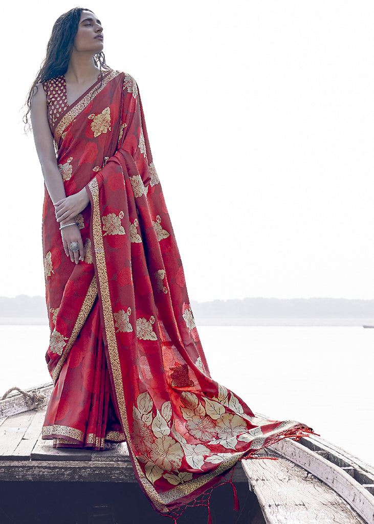 BEAUTIFUL TANGO RED WOVEN BANARASI SILK SAREE