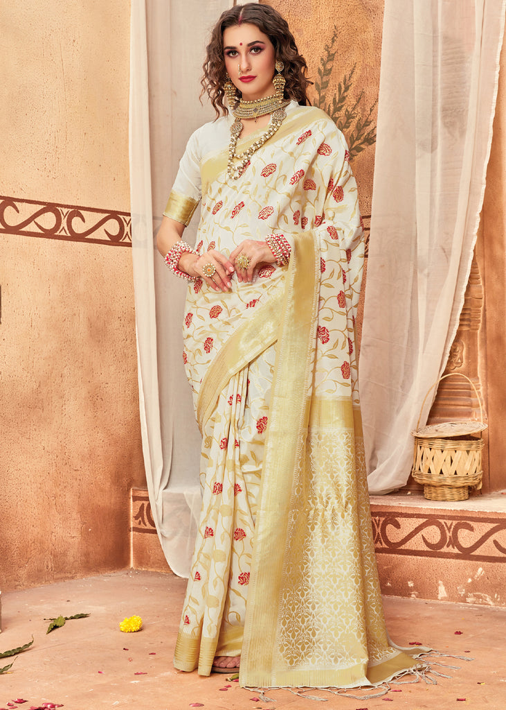 CLASSIC GOLDEN AND WHITE WOVEN BANARASI SAREE WITH BEAUTIFUL BLOUSE