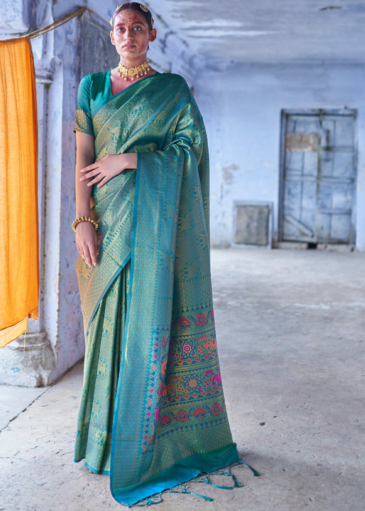GANGES BLUE WOVEN KANJIVARAM SILK SAREE