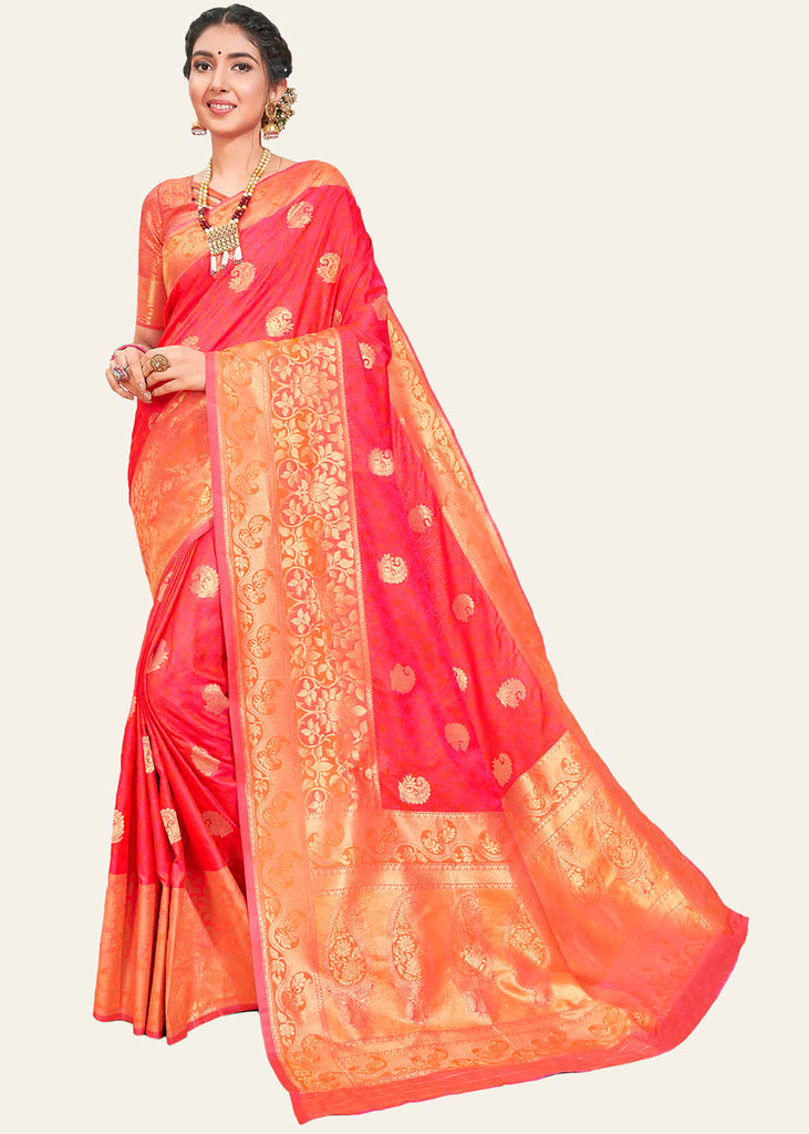GRACEFUL PINK RED WOVEN BANARASI SILK SAREE