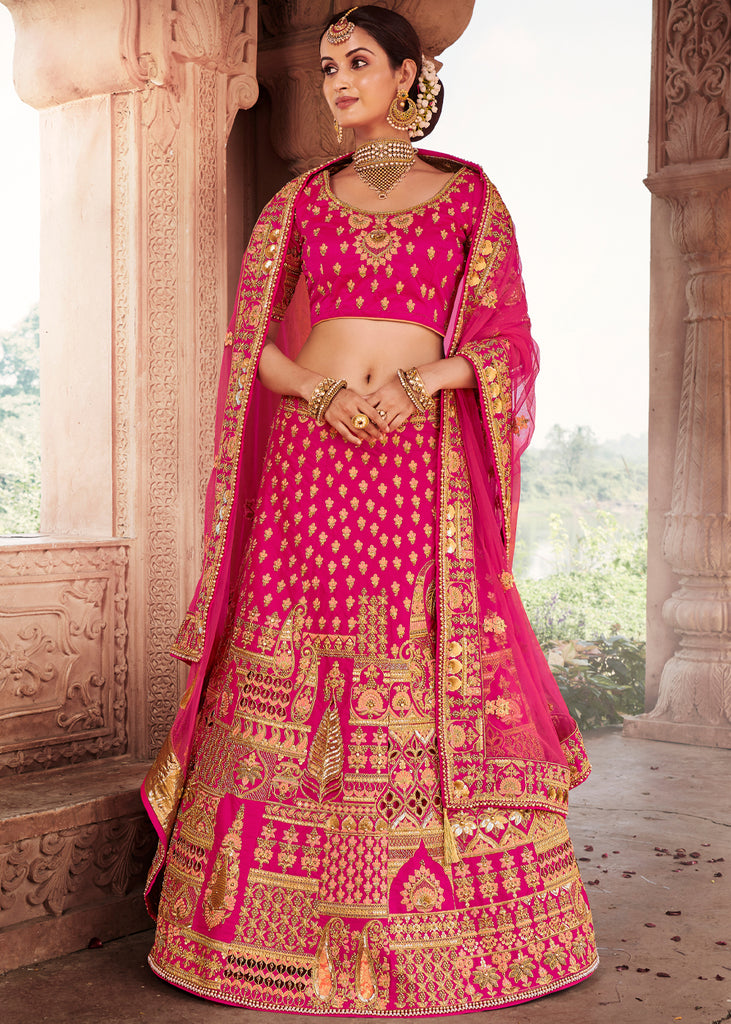 BRIDAL ESSTENTIALS: PINK LEHENGA WITH HEAVY EMBROIDERY