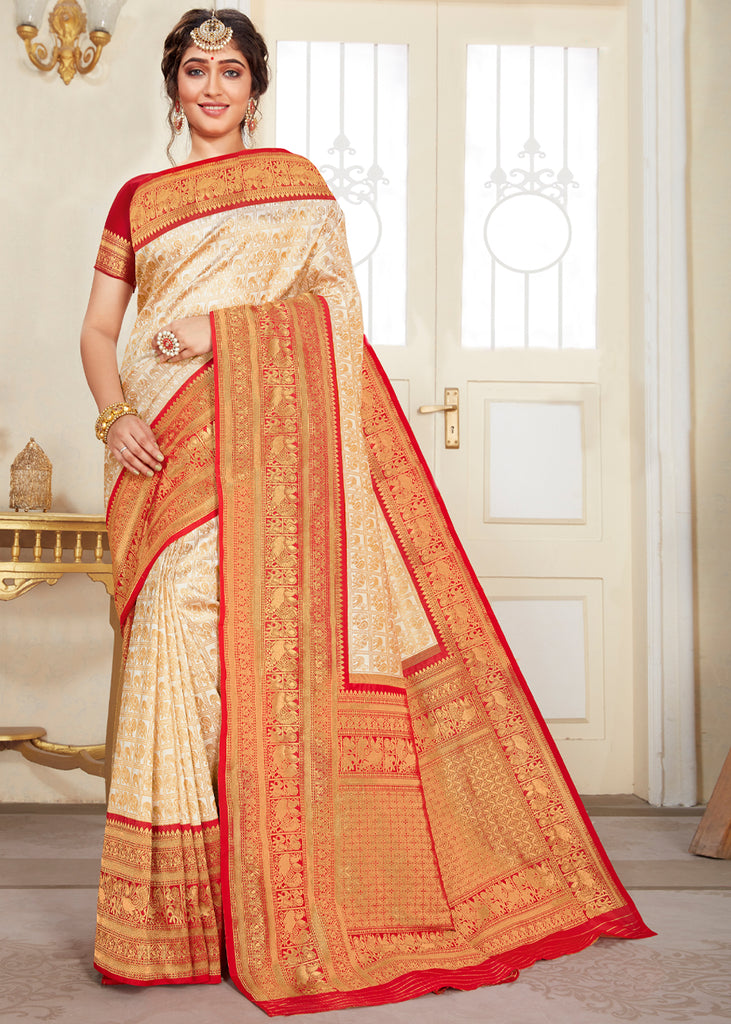 BEAUTIFUL IVORY AND RED HANDLOOM SAREE WITH ZARI BORDER AND PALLU