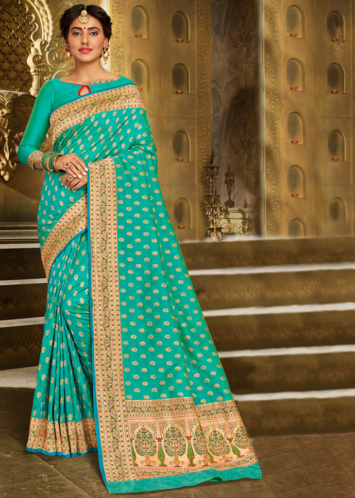 ANGEL BLUE ROYAL BROCADE HANDLOOM BANARASI SAREE