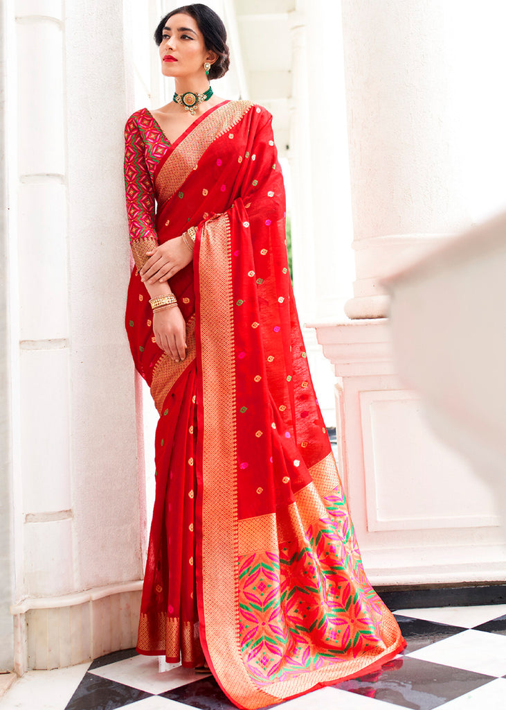 PRODUCT RED WOVEN BANARASI FUSION PATOLA SAREE WITH CONTRAST BLOUSE