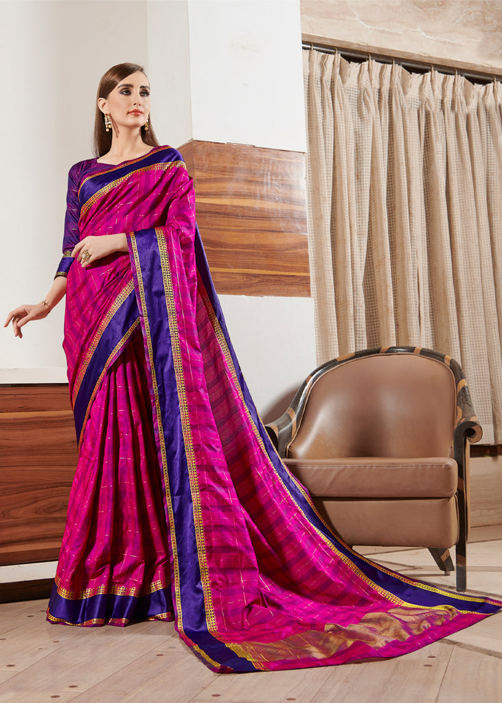 PINK AND BLUE CHECKERED SAREE
