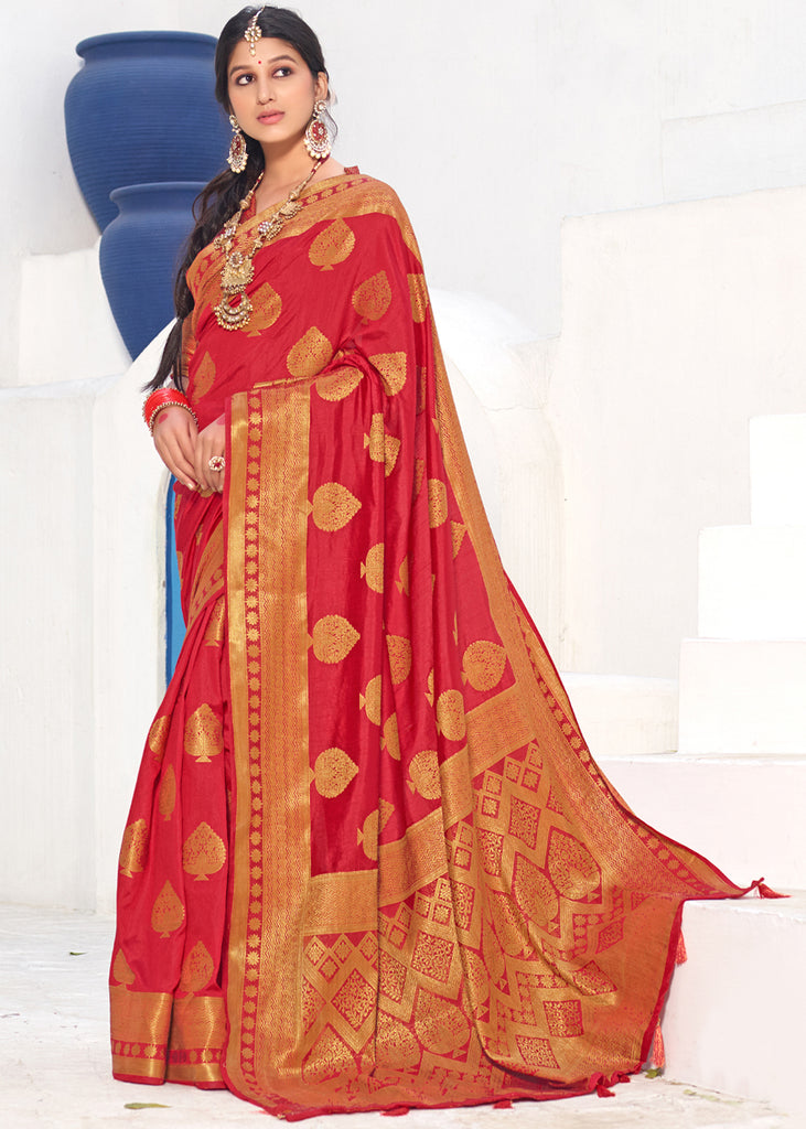 ANTIQUE RED WOVEN BANARASI SILK SAREE