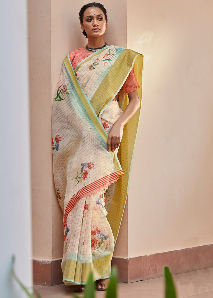 CREAMSON ORANGE WOVEN FLORAL COTTON SAREE