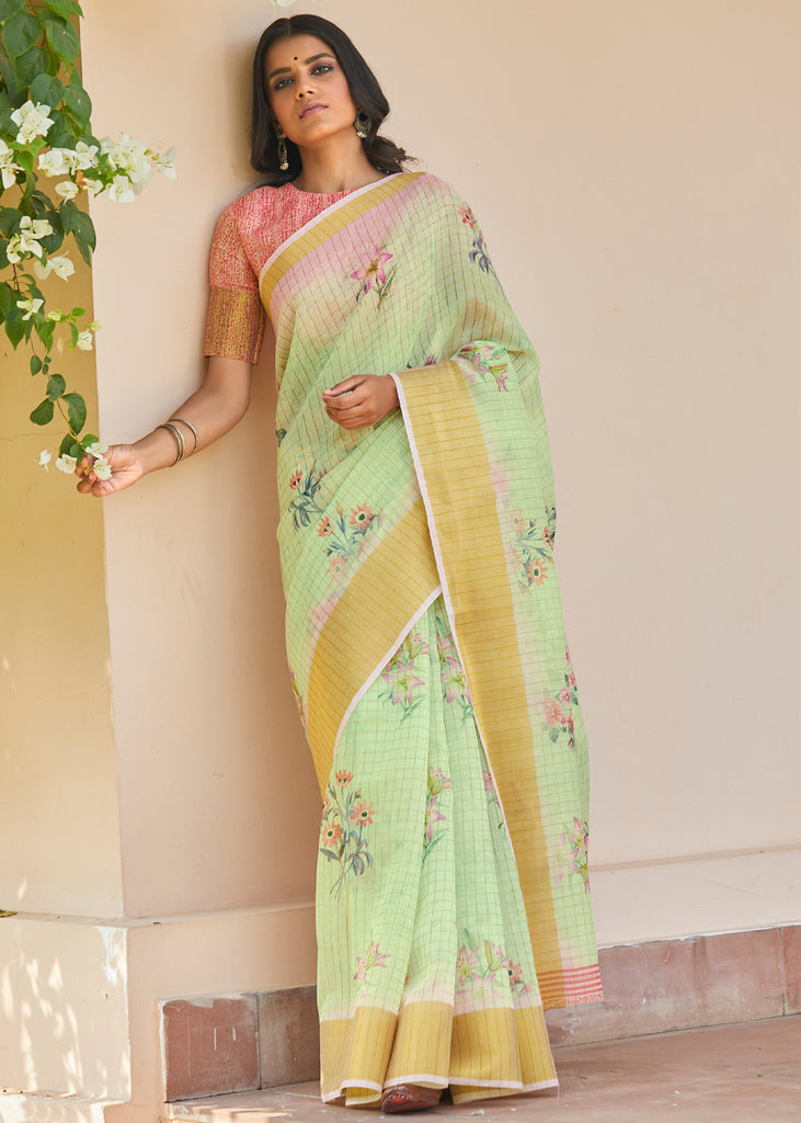 GREEN GRASS WOVEN FLORAL COTTON SAREE