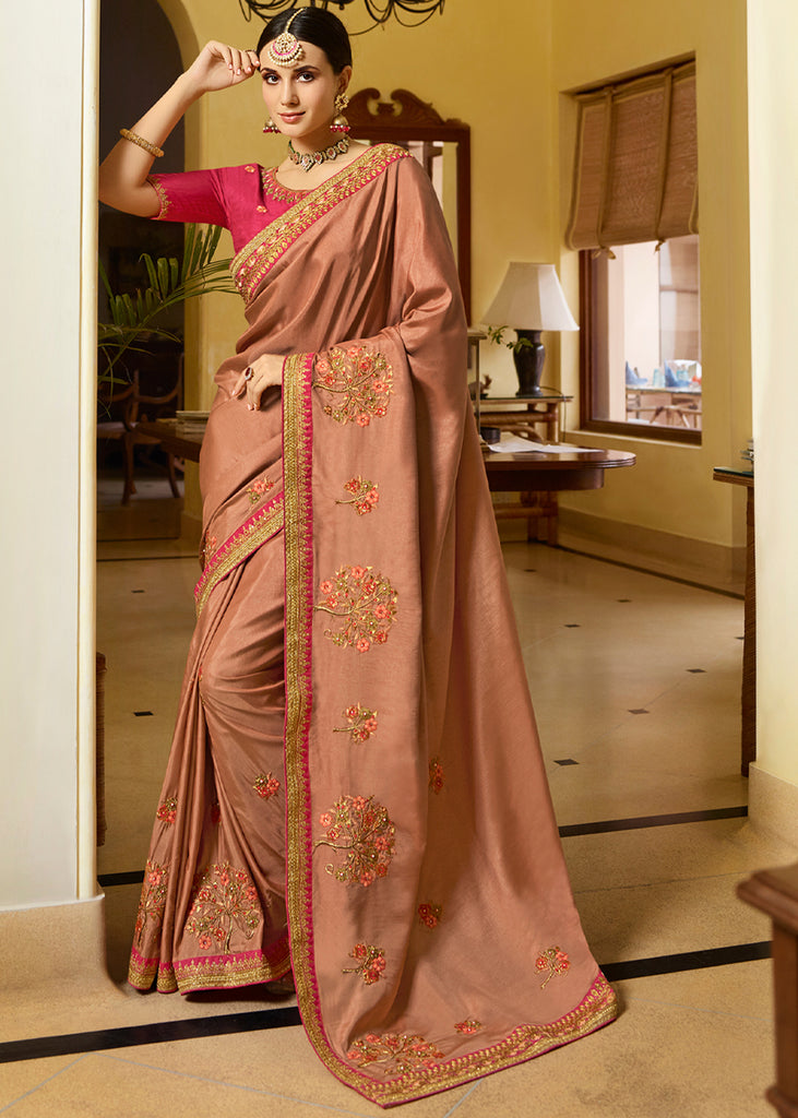 CORAL BROWN WOVEN DESIGNER SILK SAREE