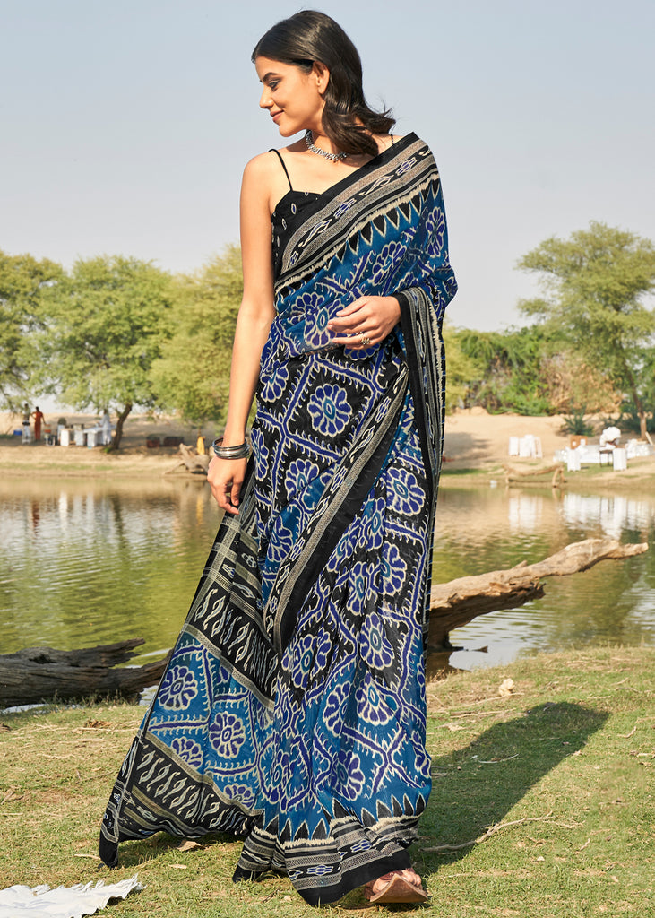 ROYAL BLUE AND BLACK WOVEN COTTON SAREE