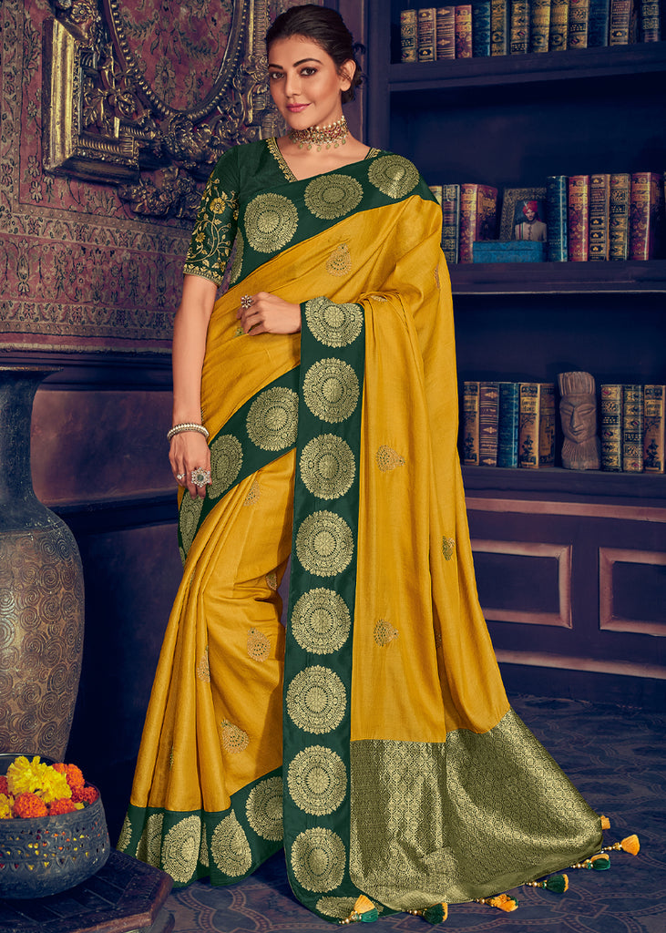 APRICOT YELLOW WOVEN BANARASI SAREE WITH EMBROIDERED BLOUSE