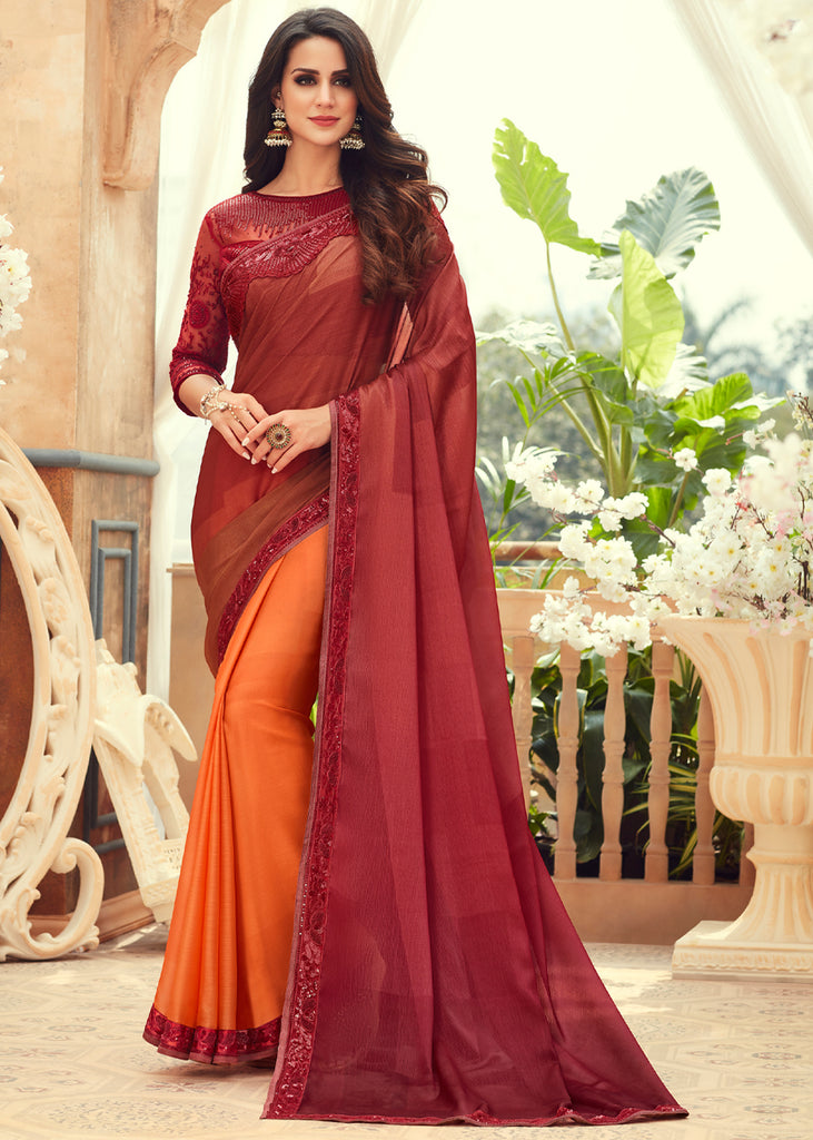 FRENCH BROWN SHADED DESIGNER CHIFFON SAREE WITH EMBROIDARY