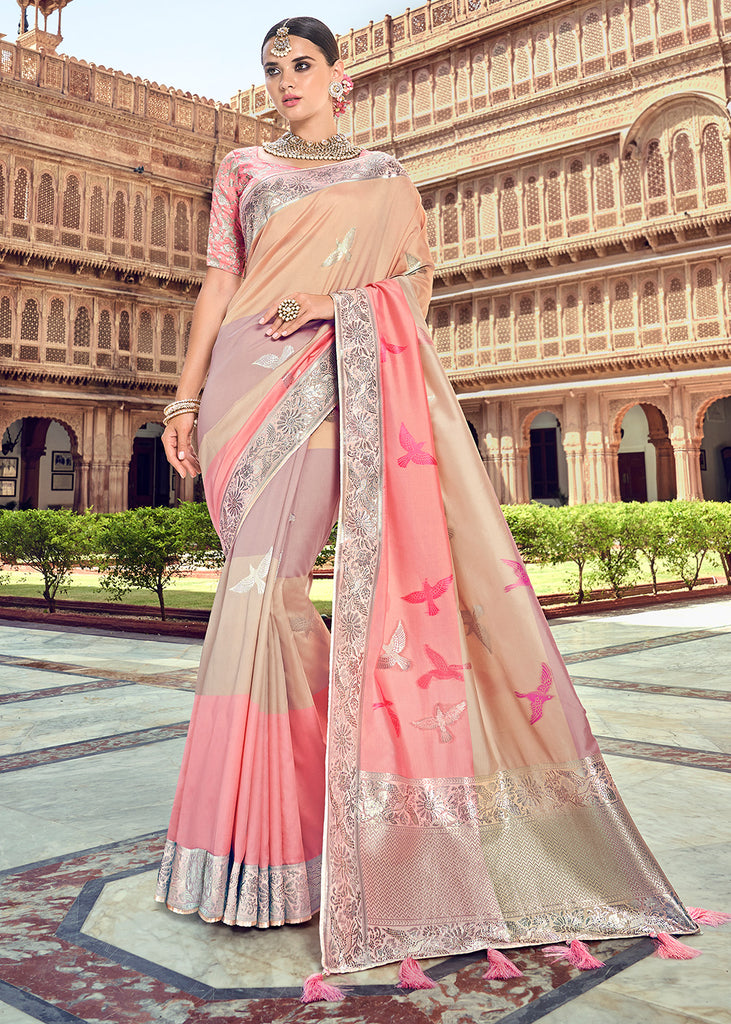 Champagne Pink And Beige Banarasi Woven Saree