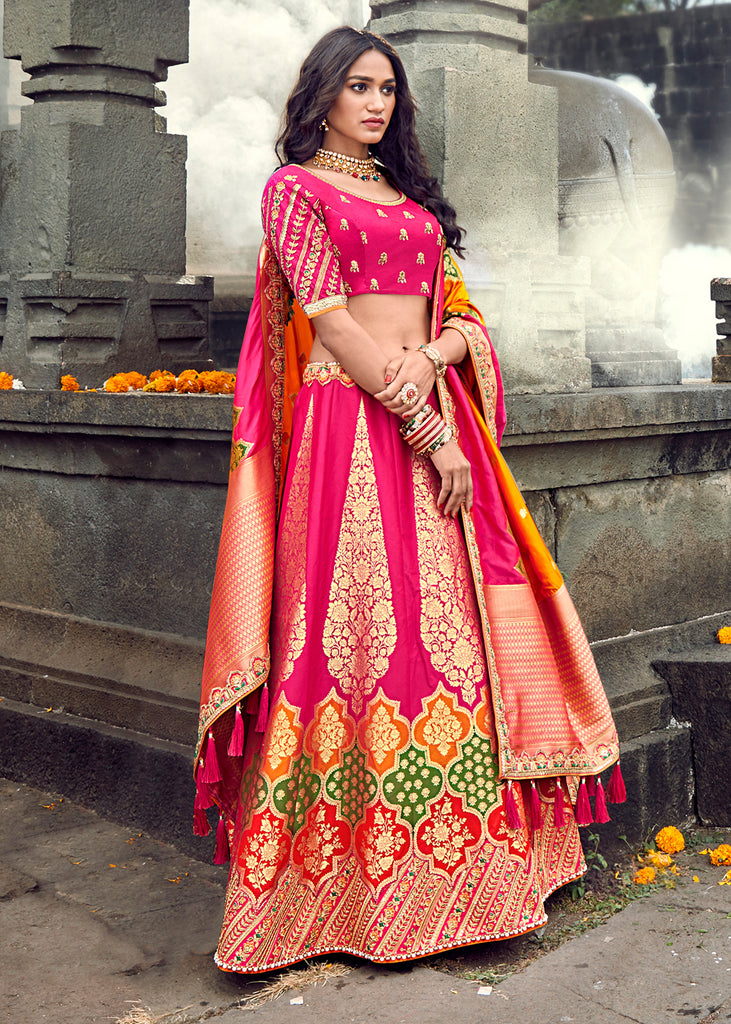 GORGEOUS RASPBERRY PINK LEHENGA WITH EMBROIDERED BLOUSE AND BANARASI DUPATTA