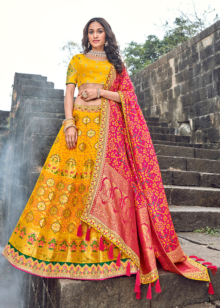 BEAUTIFUL VIBRANT YELLOW EMBROIDERED LEHENGA WITH EMBROIDERED BLOUSE AND DUPATTA
