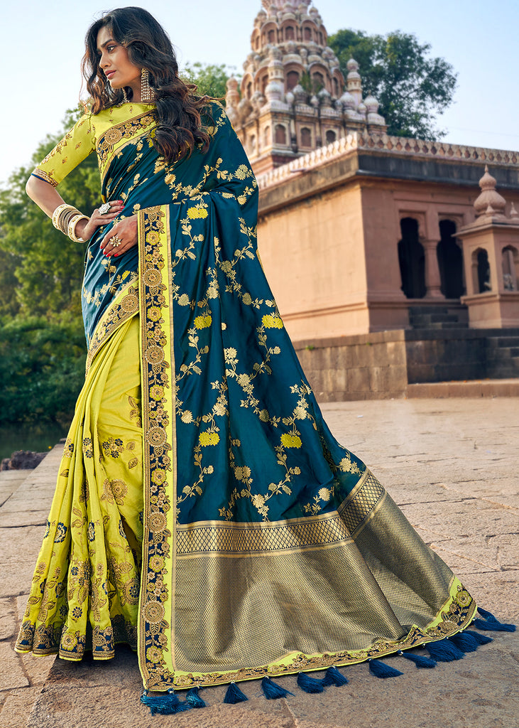 Vivid Lime Green And Blue Banarasi Saree With Heavy Embroidary