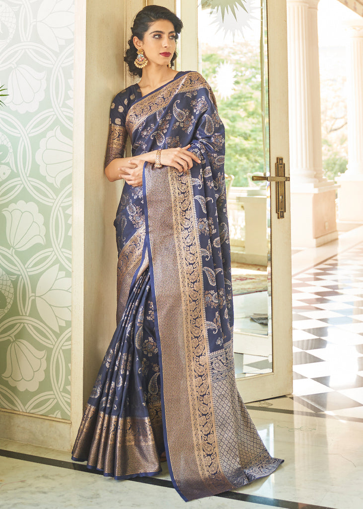 ROYAL BLUE WOVEN BANARASI BROCADE SILK SAREE