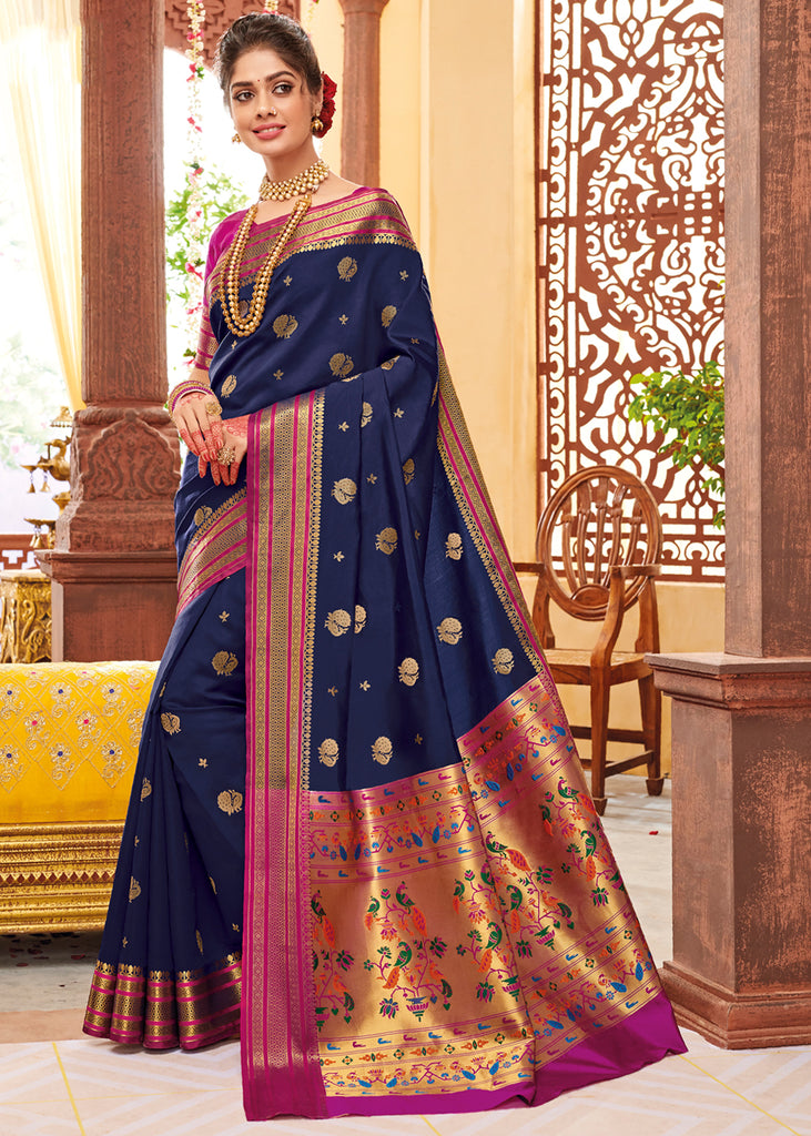 ROYAL BLUE WOVEN PAITHANI SILK SAREE