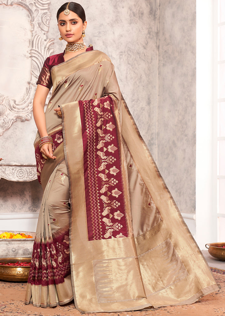 BEIGE AND MAROON WOVEN BANARASI SILK SAREE WITH  HEAVY EMBROIDARY