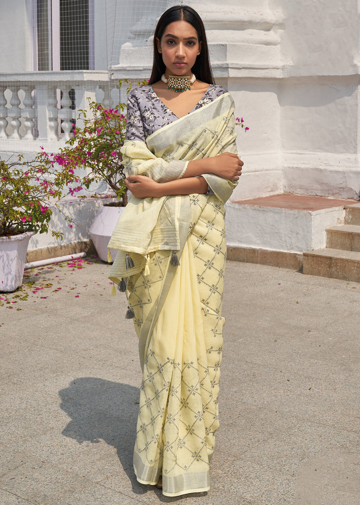 SUNLIGHT YELLOW WOVEN LINEN FUSION SAREE WITH EMBROIDARY