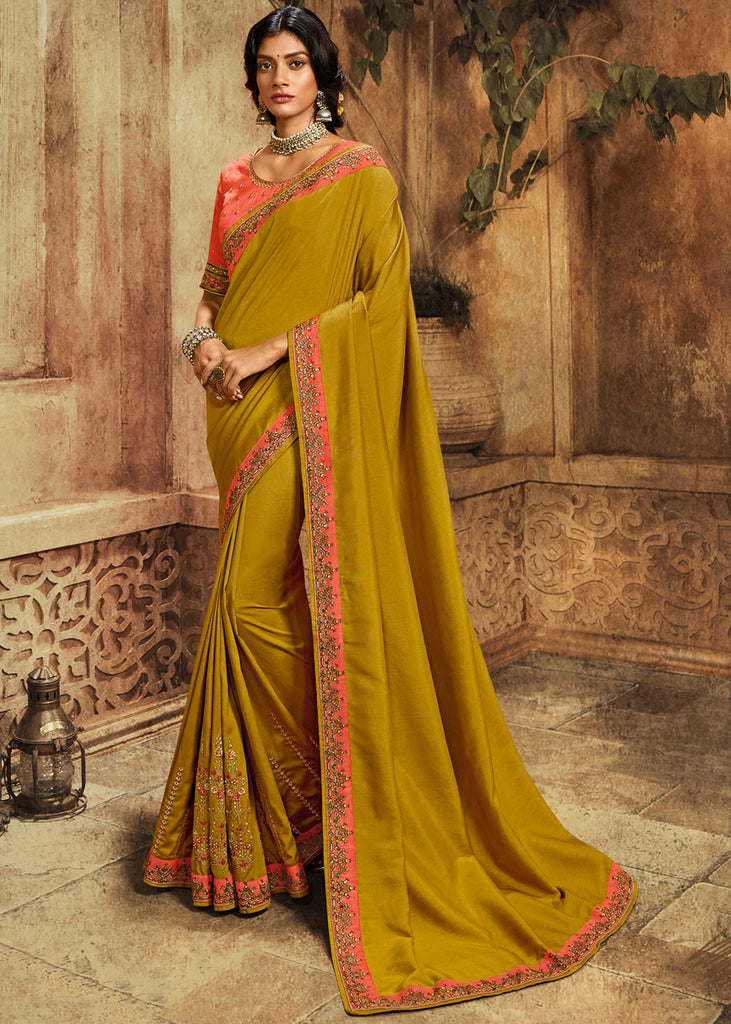 MINT GREEN WOVEN SILK SAREE WITH DESIGNER BLOUSE