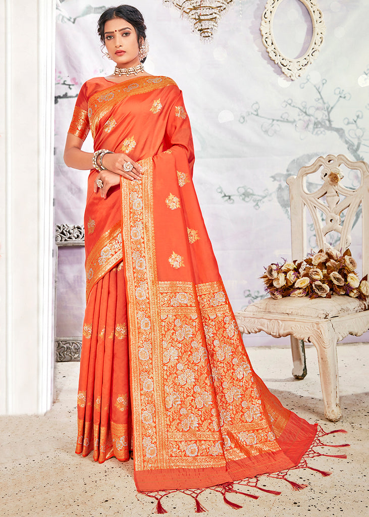 JAFFA ORANGE WOVEN BANARASI SILK SAREE