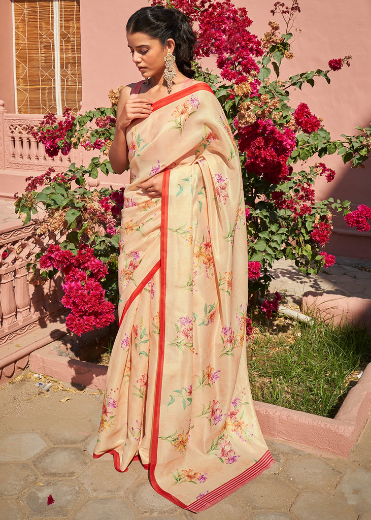 ANTIQUE BEIGE WOVEN TUSSAR SATIN SAREE