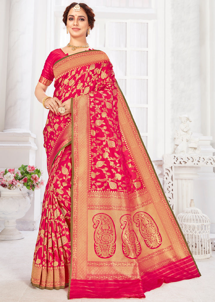 CLASSIC RED HANDLOOM WOVEN BANARASI SILK SAREE