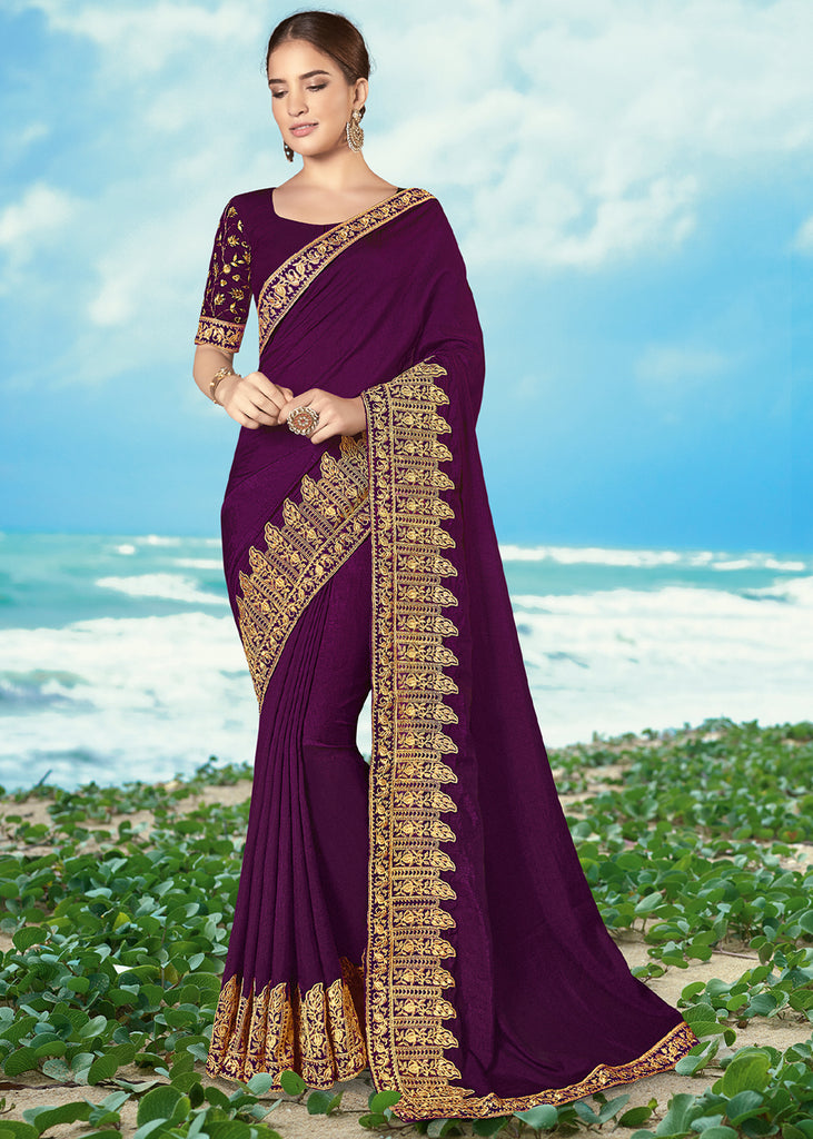 PURPLE ORCHID EMBROIDERED DESIGNER SAREE
