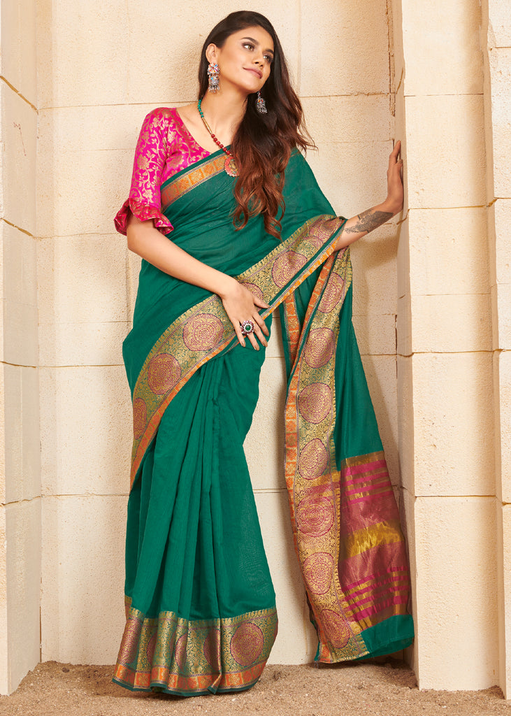 EMERALD GREEN WOVEN SILK SAREE WITH CONTRAST BLOUSE